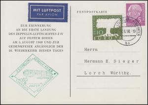 Festpostkarte Zeppelin-Gedenk-Feier 1. Landung Echterdingen, Stuttgart 18.8.1958