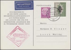 Festpostkarte Zeppelin-Gedenk-Feier 1. Landung Echterdingen, Stuttgart 17.8.1958
