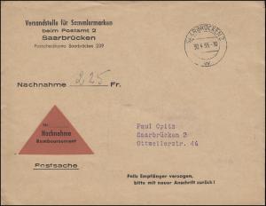 Postsache NN-Orts-Bf. Versandstelle für Sammlermarken SAARBRÜCKEN 2 w - 30.4.55