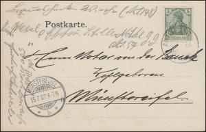 Germania 5 Pf. EF Postkarte ANTWEILER BZ. CÖLN 15.7.07 nach Münstereifel 15.7.07