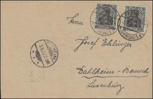 104 Germania 2mal 75 Pf. Postkarte FREIBURG / BREISGAU 1.8.22 n. DAHLHEIM 3.8.22