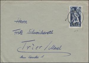 284 Eisen- und Stahlindustrie EF auf Brief METTLACH 2.12.1949 nach Trier