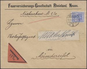 Germania 20 Pf EF NN-Bf. Feuerversicherung NEUSS 2 c - 15.11.07 n. Münstereifel