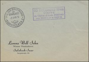 SSt SAARBRÜCKEN Tag der Briefmarke 2.4.49 Bf. Neben-O 22.12.1946 Minister-Besuch
