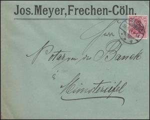 71 Germania 10 Pf als EF auf Brief FRECHEN 26.5.04 nach Münstereifel