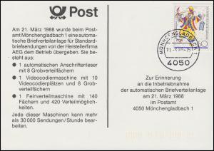AK Inbetriebnahme der automatischen Briefverteilanlage MÖNCHENGLADBACH 21.3.1988