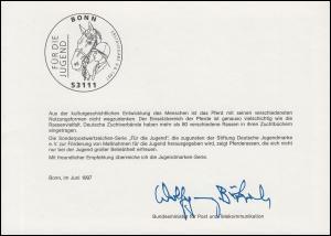 Ministerkarte MiKa A6 Jugend Pferderassen 1920-1924 ESSt BONN 9.6.1997