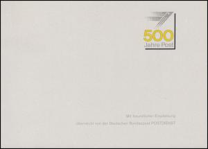 Ministerkarte EUROPA - Posteinrichtungen & 500 Jahre Post, ESSt Bonn 3.5.1990