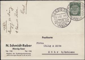Sonderstempel MERZIG Das Tor zum romantischen Saartal 22.3.37 auf Postkarte