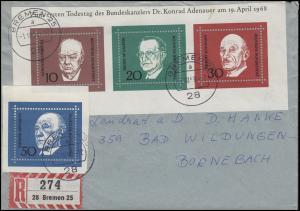 554-557 Adenauer und Blockteil der 10-20-30-Werte aus Bl.4 R-Bf. BREMEN 1.10.68
