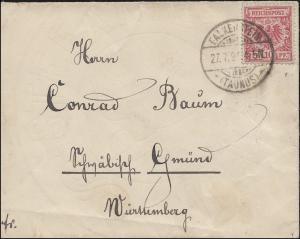 47 Krone/Adler 10 Pf als EF auf Brief FALKENSTEIN (TAUNUS) 27.7.1894 nach Gmünd