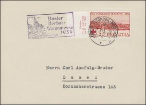 Schweiz 357 Rotes Kreuz Genf mit TAB Karte Schweiz.-Automobil-Postbüro 11.11.39