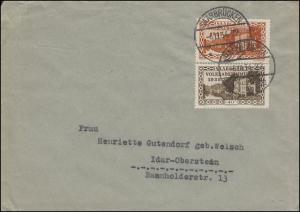 181+184 Volksabstimmung 20+40 C. Brief SAARBRÜCKEN 6.11.1934 nach Idar-Oberstein