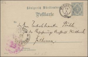 Württemberg Dienst-PK DP 2/04 DV 19301 WIDDERN 19.6.02 nach HEILBRONN 19.6.02
