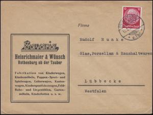 519 Hindenburg 12 Pf EF Bf Kinderwagen / Kinderbetten ROTHENBURG o. Tbr. 17.3.36