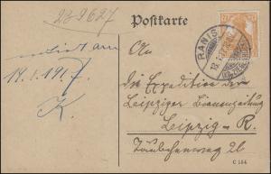 99 Germania EF auf Postkarte RANIS (KR. ZIEGENRÜCK) 18.1.17 nach Leipzig