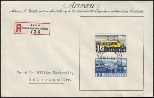Sonder-R-Zettel Aarau Nationale Briefmarken-Ausstellung Schmuck-Bf. SSt 25.9.38
