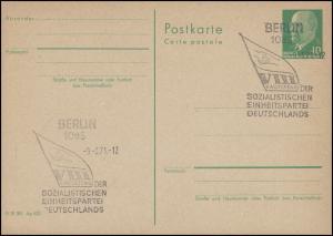 P 75 Ulbricht 10 Pf. mit SSt 1085 BERLIN VIII. Parteitag der SED 9.6.71