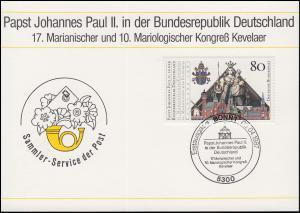 1320 Johannes Paul II. in Deutschland auf Maximumkarte ESSt Bonn 9.4.1987