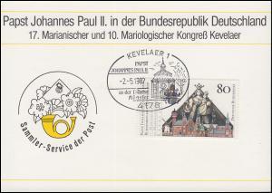Gedenkblatt Johannes  Paul II. SSt Kevelaer Papst in der Diozöse Münster 2.5.87