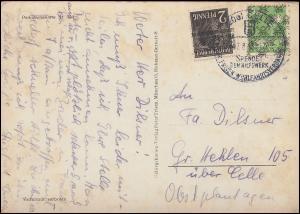 36I Band und 39II Netz auf Postkarte SSt Celle Spende 7.8.1948 auf AK Chiemsee