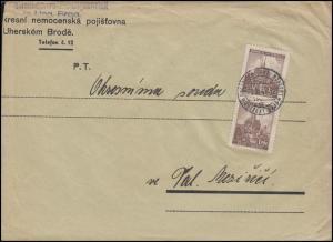 41 Brünn 2x 1,20 K als MeF auf Brief UNGARISCH BROD / Uhersky Brod 25.2.41