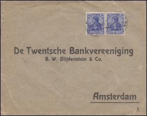 Zensurpost Germania-MeF 2x 20 Pf. Bf. von Berlin 1915 nach Amsterdam Bankverkehr