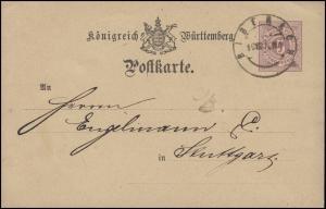 Württemberg P 22 Ziffer 5 Pf. BIBERACH 19.8.76 nach Stuttgart