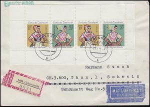 HBl. 13A Sorbische Trachten 1971 MiF auf Lp-R-Auslands-Brief LIEBENWALDE 7.12.72
