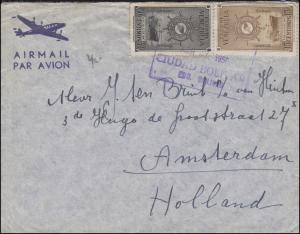 Venezuela Frachter 15+50 C auf Brief CIUDAD BOLIVAR 27.3.1950 nach Amsterdam/NL