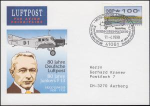 Deutsche Luftpost Hugo Junkers Ju F 13, ATM-EF PK SSt Mönchengladbach 11.4.1999
