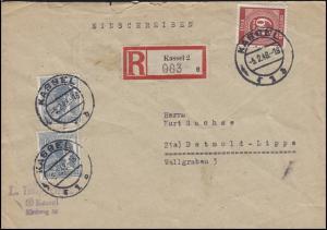 920+933 Ziffern-MiF 2x 12 + 60 Pf. auf R-Brief von KASSEL 5.2.48 nach Detmold