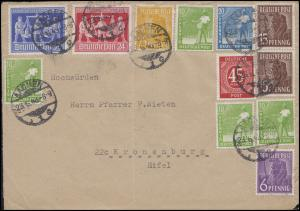 Währungsreform MiF als Zehnfachfrankatur Briefvorderseite AACHEN 23.6.48