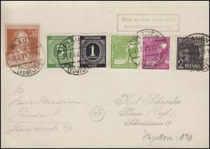 911ff Gemeinschaft-MiF auf Postkarte vom Letztag der Gültigkeit PLAUEN 31.7.48