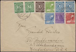 Währungsreform Kontrollrat I+II MiF Zehnfachfrankatur Brief NÖBDENITZ 29.6.48