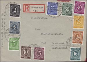Währungsreform Ziffern-MiF Zehnfachfrankatur Orts-R-Brief DRESDEN A 20 - 25.6.48