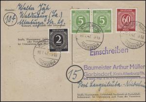 912+915+933 Ziffern auf Postkarte WALDENBURG/SACHSEN 10.1.47 nach Garbisdorf