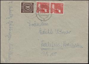 Kontrollrat I+II 918 + 2x945 MiF auf Fern-Brief GÖTTINGEN 7.1.48 nach Kalefeld