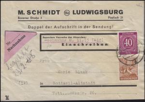 929+951 Kontrollrat I+II 40 + 24 Pf. NN-Briefvorderseite LUDWIGSBURG 20.2.48