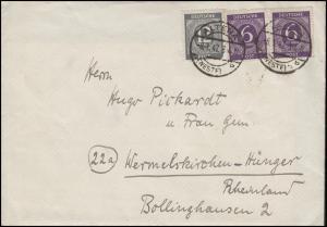 926+920 Ziffern 2x6 und 12 Pf. MiF Bf ALTENA / WESTF. 8.1.47 nach Wermelskirchen