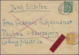 926+936 Ziffern 25+84 Pf. MiF Eil-Brief OTTENSOOS 6.7.46 nach Dachau
