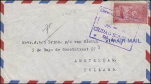 Venezuela Frachter 90 C EF auf Brief CIUDAD BOLIVAR 30.6.1950 nach Amsterdam/NL