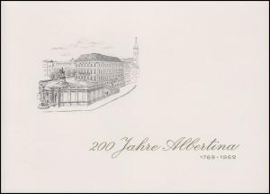 Österreich 200 Jahre Albertina: Klappkarte mit 1307-1314 ESSt WIEN 26.9.1969
