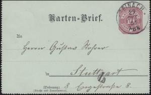 Privater Kartenbrief PK 2 Ziffer 10 Pf STEINACH 29.10.1895 nach STUTTGART 31.10.