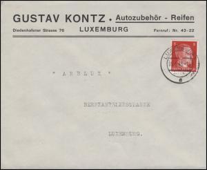 Freimarke Hitler 8 Pf. Brief Autozubehör Reifen-Kontz LUXEMBURG 5.5.43 an Arelux