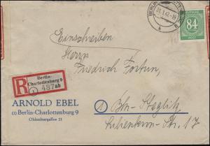 936 Ziffer 84 Pf. als EF auf Orts-R-Brief BERLIN-CHARLOTTENBURG 9 - 31.1.1947