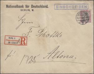 75 Germania 40 Pf EF auf R-Brief BERLIN 9 - 23.5.1902 nach ALTONA / ELBE 24.5.02