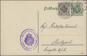 Dienstpostkarte P 12/06 Ziffer 5 Pf. DV 5 13, DUNNINGEN 2.1.1917 nach Stuttgart
