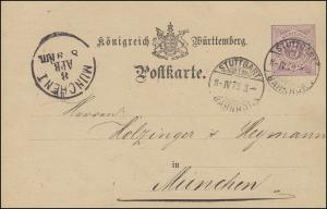 Postkarte P 22 Ziffer 5 Pf violett STUTTGART BAHNHOF 8.4.1876, signiert Dr. Reeb