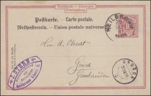 Postkarte P 28 Ia Ziffer 10 Pf von HEILBRONN 29.9.1891 nach GRÜSCH 30.09.91